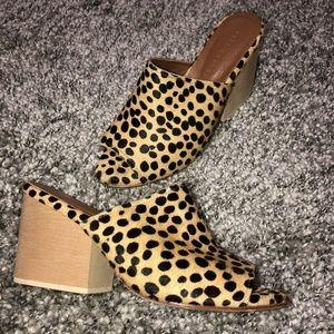 Ceri Hoover Cheetah Mule Sandals Peep Toe sz 7